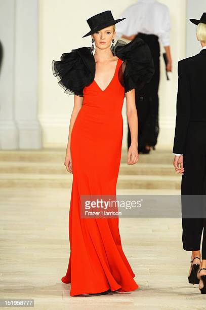 A model walks the runway at the Ralph Lauren Spring 2013 fashion show during MercedesBenz Fashion Week on September 13 2012 in New York City