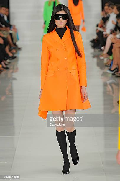 Model walks the runway at the Ralph Lauren Spring Summer 2014 fashion show during New York Fashion Week on September 12, 2013 in New York, United...