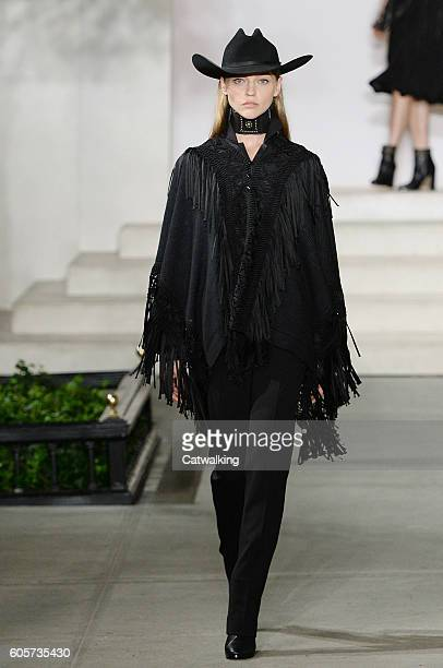 A model walks the runway at the Ralph Lauren Spring Summer 2017 fashion show during New York Fashion Week on September 14 2016 in New York United...