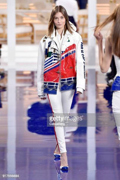 A model walks the runway at the Ralph Lauren Spring Summer 2018 fashion show during New York Fashion Week on February 12 2018 in New York United...