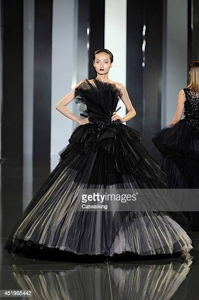 A model walks the runway at the Ralph Russo Autumn Winter 2014 fashion show during Paris Haute Couture Fashion Week on July 10 2014 in Paris France