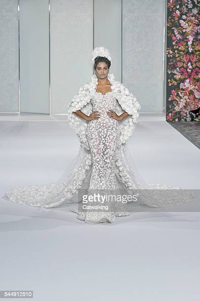 Model walks the runway at the Ralph & Russo Autumn Winter 2016 fashion show during Paris Haute Couture Fashion Week on July 4, 2016 in Paris, France.