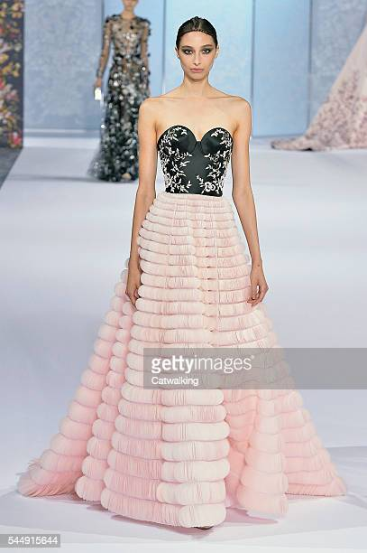 A model walks the runway at the Ralph Russo Autumn Winter 2016 fashion show during Paris Haute Couture Fashion Week on July 4 2016 in Paris France