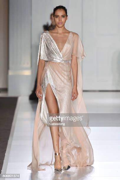 A model walks the runway at the Ralph Russo Autumn Winter 2017 fashion show during Paris Haute Couture Fashion Week on July 3 2017 in Paris France