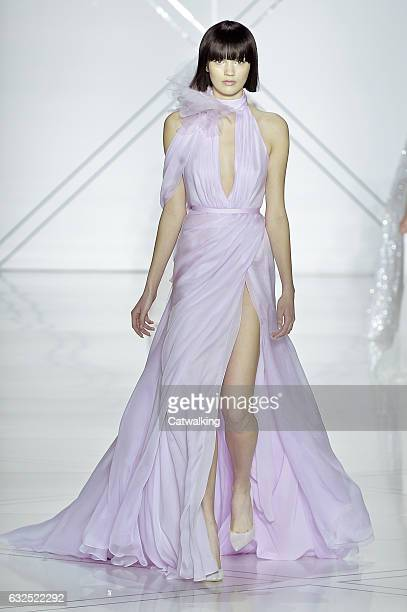 Model walks the runway at the Ralph & Russo Spring Summer 2017 fashion show during Paris Haute Couture Fashion Week on January 23, 2017 in Paris,...