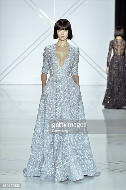 A model walks the runway at the Ralph Russo Spring Summer 2017 fashion show during Paris Haute Couture Fashion Week on January 23 2017 in Paris France