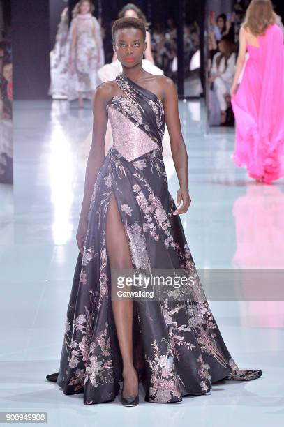A model walks the runway at the Ralph Russo Spring Summer 2018 fashion show during Paris Haute Couture Fashion Week on January 22 2018 in Paris France