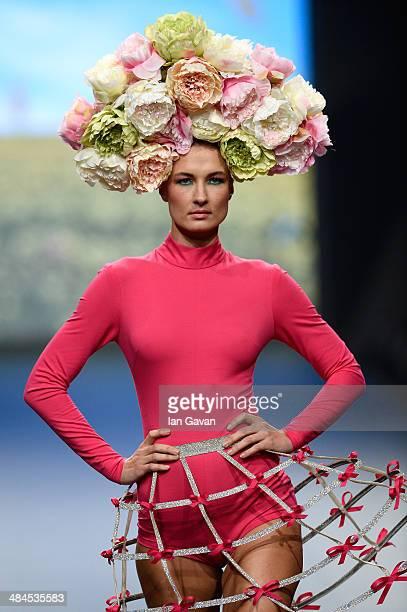 A model walks the runway at the Rami Kadi show during Fashion Forward at Madinat Jumeirah on April 12 2014 in Dubai United Arab Emirates