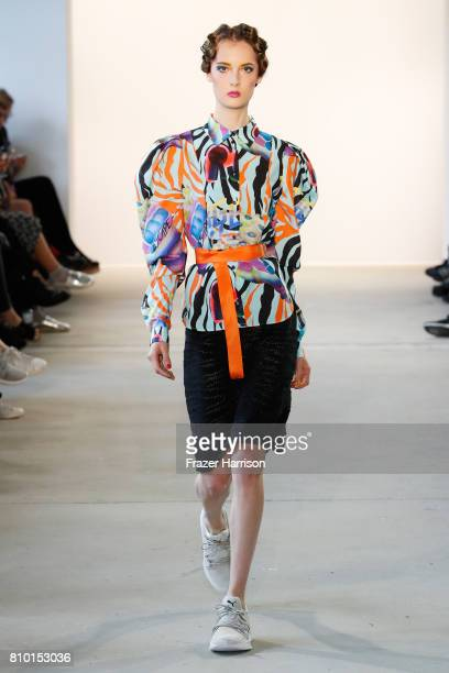 A model walks the runway at the Raquel Hladky show during the MercedesBenz Fashion Week Berlin Spring/Summer 2018 at Kaufhaus Jandorf on July 7 2017...