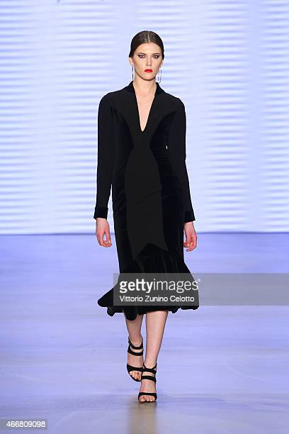 A model walks the runway at the Rashid by Rasit Bagzibagli show during Mercedes Benz Fashion Week Istanbul FW15 on March 19 2015 in Istanbul Turkey