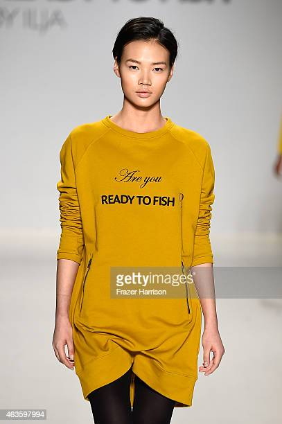 A model walks the runway at the Ready To Fish fashion show during MercedesBenz Fashion Week Fall 2015 at The Salon at Lincoln Center on February 16...