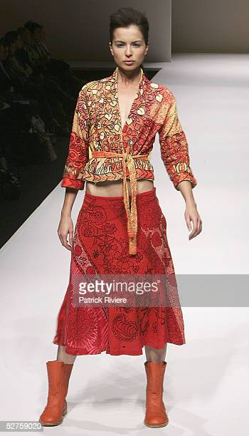 Model walks the runway at the Ready To Wear of the Caravana collection presentation at the Overseas Passenger Terminal during Mercedes Australian...