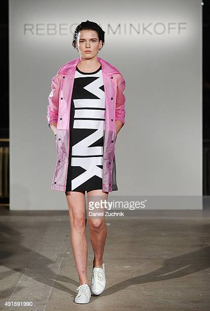 A model walks the runway at the Rebecca Minkoff Athleisure Collection show at AOL Studios on October 6 2015 in New York City