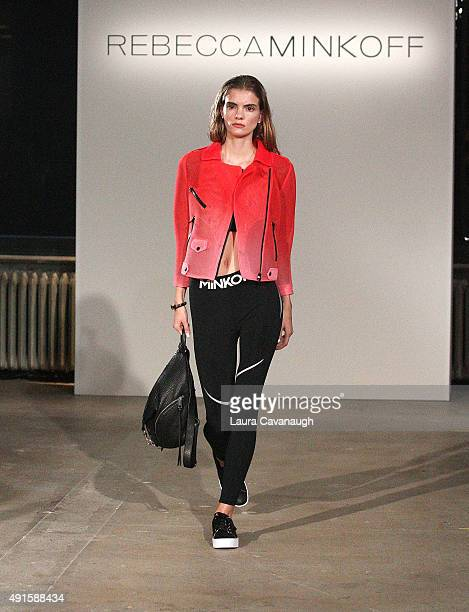 A model walks the runway at the Rebecca Minkoff fashion show at AOL Build Presents Rebecca Minkoff's Athleisure Collection at AOL Studios In New York...