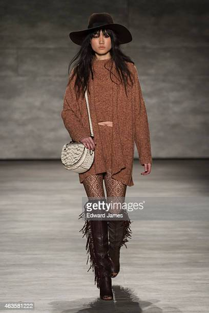 A model walks the runway at the Rebecca Minkoff fashion show at The Pavilion at Lincoln Center on February 13 2015 in New York City