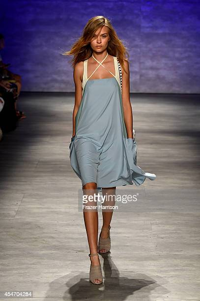 Model walks the runway at the Rebecca Minkoff fashion show during Mercedes-Benz Fashion Week Spring 2015 at The Pavilion at Lincoln Center on...