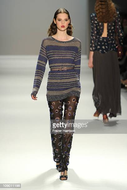 A model walks the runway at the Rebecca Taylor Fall 2011 fashion show during MercedesBenz Fashion Week at The Tent at Lincoln Center on February 11...