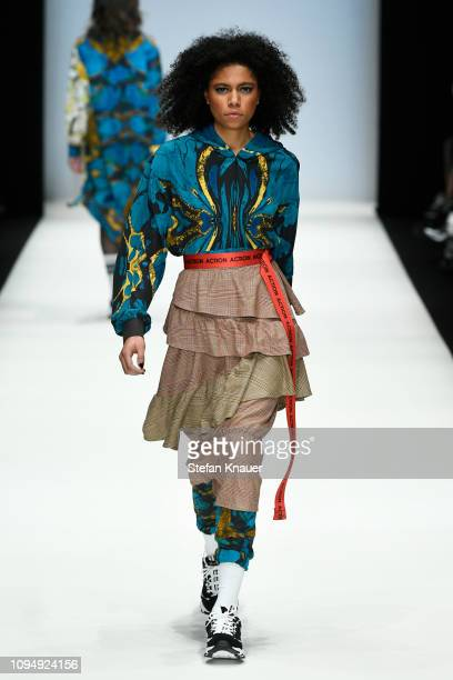 A model walks the runway at the Rebekka Ruetz show during the Berlin Fashion Week Autumn/Winter 2019 at ewerk on January 16 2019 in Berlin Germany