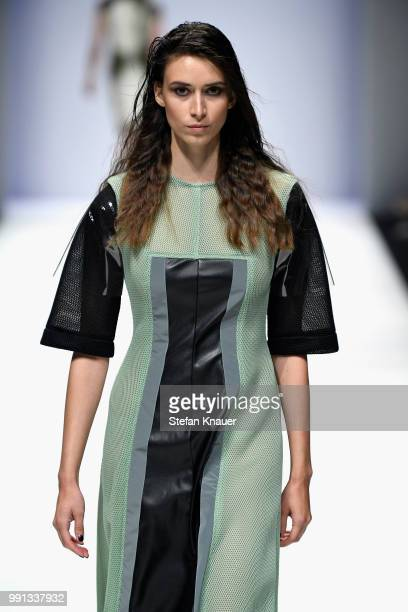 A model walks the runway at the Rebekka Ruetz show during the Berlin Fashion Week Spring/Summer 2019 at ewerk on July 4 2018 in Berlin Germany