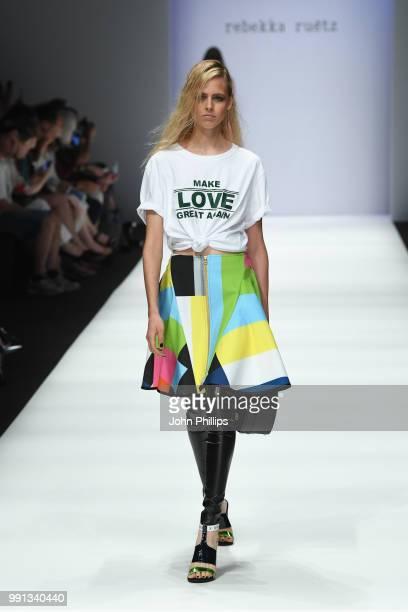 A model walks the runway at the Rebekka Ruetz show during the Berlin Fashion Week Spring/Summer 2019 at ewerk on July 4 2018 in Berlin Germany