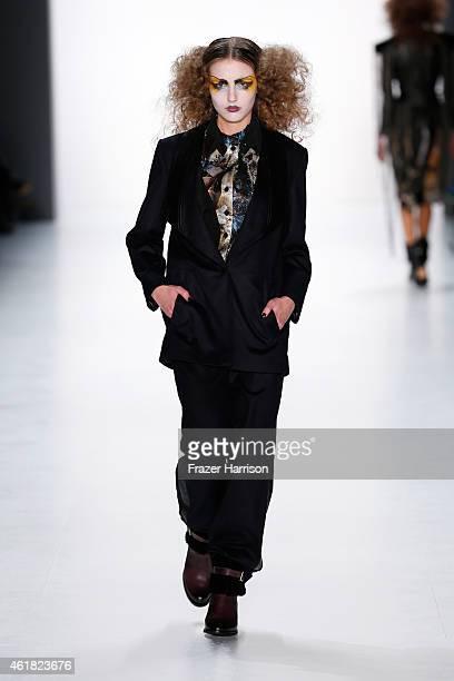A model walks the runway at the Rebekka Ruetz show during the MercedesBenz Fashion Week Berlin Autumn/Winter 2015/16 at Brandenburg Gate on January...