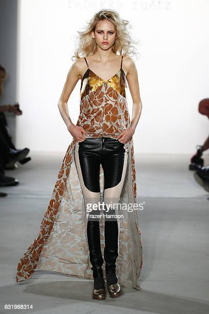 A model walks the runway at the Rebekka Ruetz show during the MercedesBenz Fashion Week Berlin A/W 2017 at Kaufhaus Jandorf on January 18 2017 in...