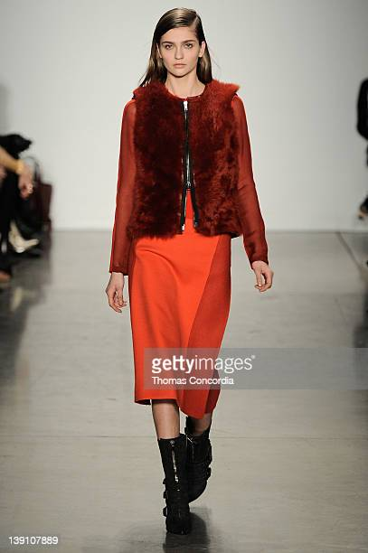 A model walks the runway at the Reed Krakoff Fall 2012 fashion show during MercedesBenz Fashion Week at Pace Gallery on February 15 2012 in New York...