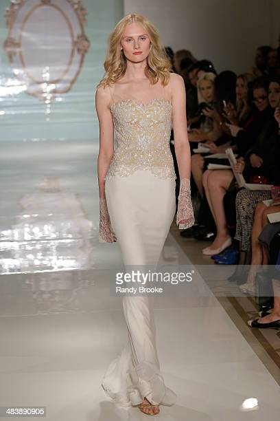 Model walks the runway at the Reem Acra Spring 2015 Bridal collection show on April 10 2014 in New York City