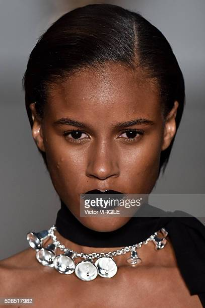 A model walks the runway at the Reinaldo Lourenco fashion show during the Sao Paulo Fashion Week Spring/Summer 20162017 on April 27 2016 in Sao Paulo...