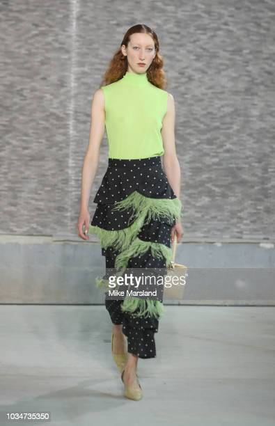 A model walks the runway at the REJINA PYO show during London Fashion Week September 2018 on September 17 2018 in London England
