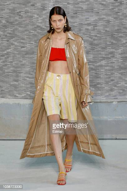 A model walks the runway at the REJINA PYO show during London Fashion Week September 2018 at XXXX on September 16 2018 in London England