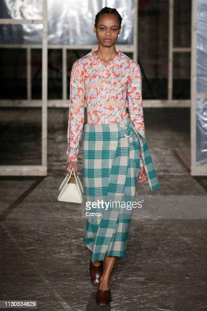A model walks the runway at the Rejina Pyo show during London Fashion Week February 2019 at the on February 18 2019 in London England