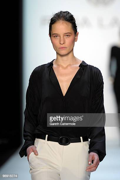 A model walks the runway at the Rena Lange Fashion Show during the MercedesBenz Fashion Week Berlin Autumn/Winter 2010 at the Bebelplatz on January...