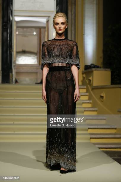 A model walks the runway at the Renato Balestra Show during Altaroma on July 7 2017 in Rome Italy