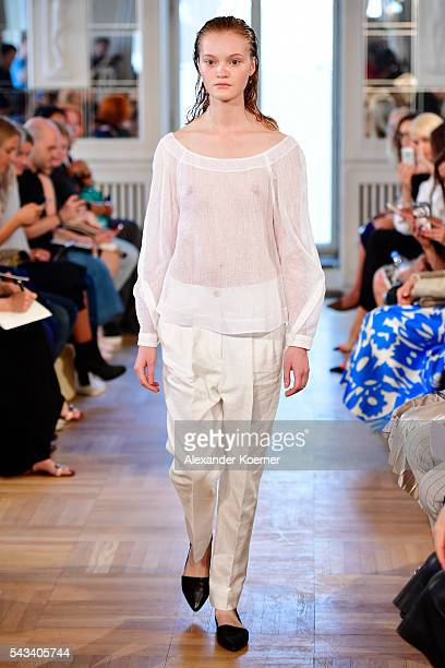 A model walks the runway at the Rene Storck show during the MercedesBenz Fashion Week Berlin Spring/Summer 2017 at Kronprinzenpalais on June 28 2016...