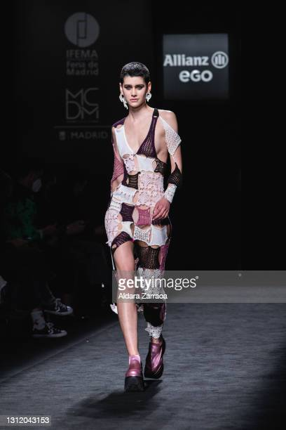Model walks the runway at the Reparto Studio fashion show during Samsung EGO Mercedes Benz Fashion Week Madrid April 2021 at Ifema on April 11, 2021...