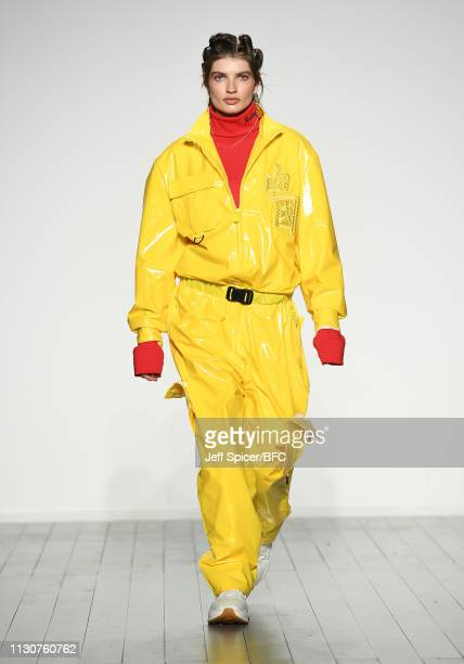 A model walks the runway at the Reshake On/Off X show during London Fashion Week February 2019 at the BFC Show Space on February 19 2019 in London...
