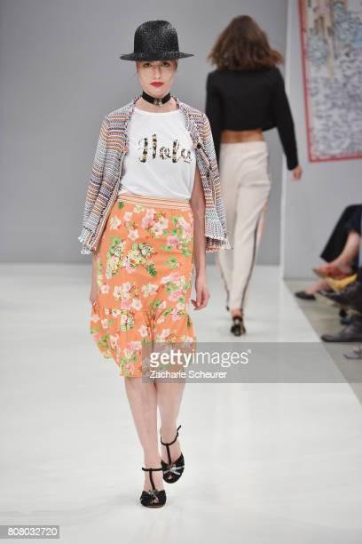 A model walks the runway at the Riani Fashion Show Spring/Summer 2018 at Umspannwerk Kreuzberg on July 4 2017 in Berlin Germany