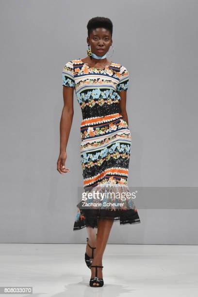 A model walks the runway at the Riani Fashion Show Spring/Summer 2018 at Umspannwerk Kreuzberg on July 4 2017 in Berlin Germany