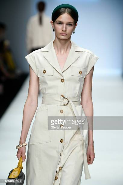 A model walks the runway at the Riani show during the Berlin Fashion Week Spring/Summer 2020 at ewerk on July 03 2019 in Berlin Germany