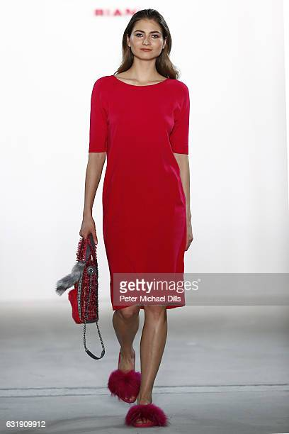 A model walks the runway at the Riani show during the MercedesBenz Fashion Week Berlin A/W 2017 at Kaufhaus Jandorf on January 17 2017 in Berlin...