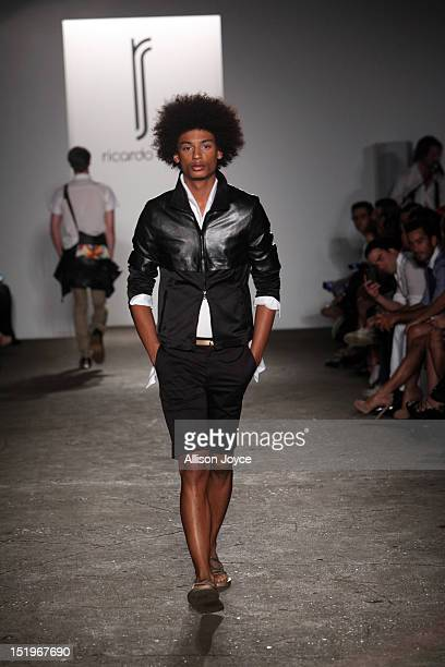 A model walks the runway at the Ricardo Seco spring 2013 fashion show during MercedesBenz Fashion Week at on September 13 2012 in New York City