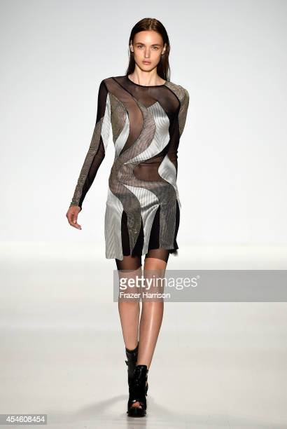 Model walks the runway at the Richard Chai LOVE & Men's fashion show during Mercedes-Benz Fashion Week Spring 2015 at The Salon at Lincoln Center on...