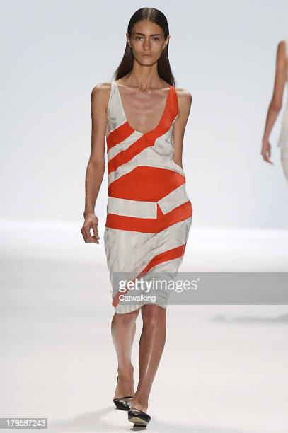 Model walks the runway at the Richard Chai Love Spring Summer 2014 fashion show during New York Fashion Week on September 5, 2013 in New York, United...