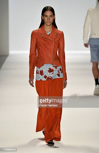 Model walks the runway at the Richard Chai Spring 2014 fashion show during Mercedes-Benz Fashion Week at The Stage at Lincoln Center on September 5,...