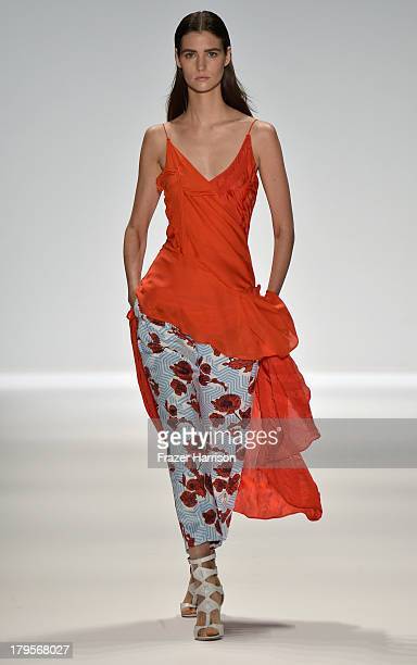 A model walks the runway at the Richard Chai Spring 2014 fashion show during MercedesBenz Fashion Week at The Stage at Lincoln Center on September 5...
