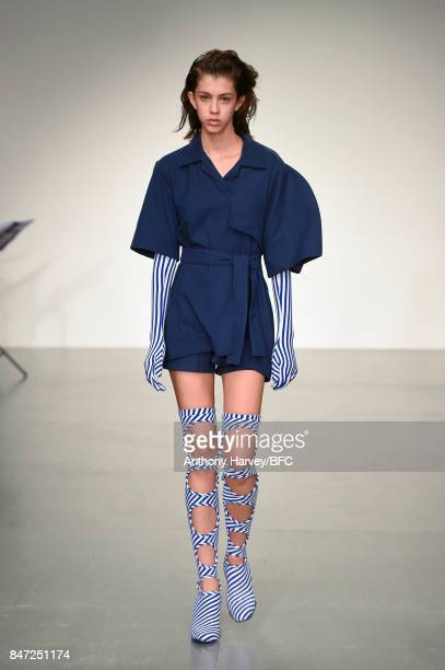 A model walks the runway at the Richard Malone show during London Fashion Week September 2017 on September 15 2017 in London England