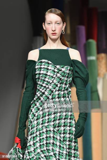A model walks the runway at the Richard Malone show during London Fashion Week February 2018 at 180 The Strand on February 16 2018 in London England