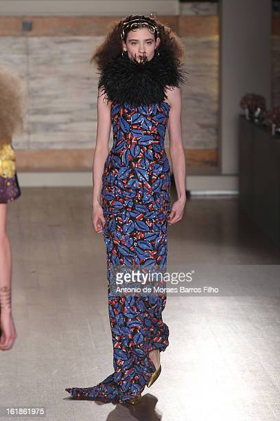 Model walks the runway at the Richard Nicoll show during London Fashion Week Fall/Winter 2013/14 on February 17, 2013 in London, England.