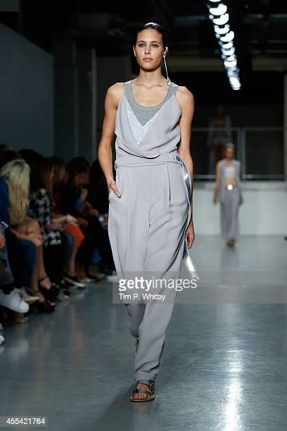 A model walks the runway at the Richard Nicoll show during London Fashion Week Spring Summer 2015 on September 14 2014 in London England